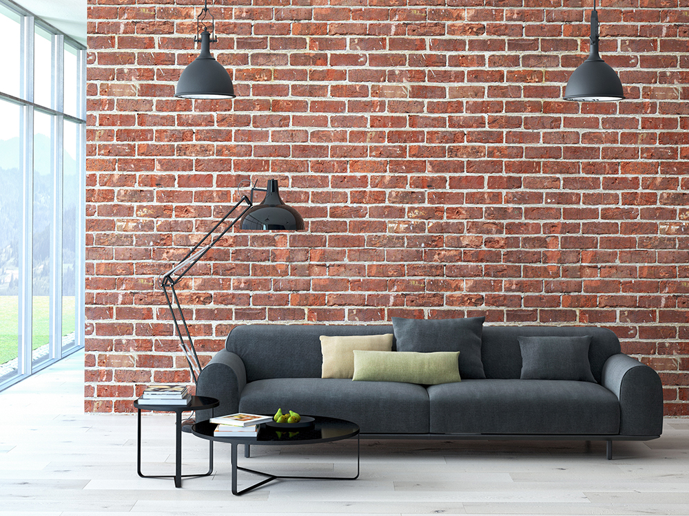 Elegant Attachment: Loft Interior With Brick Wall And Coffee Table
