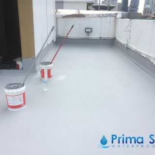 5 Layers Acrylic Waterproofing Membrane Fibreglass reinforced concrete roof waterproofing singapore commercial south bridge road 9